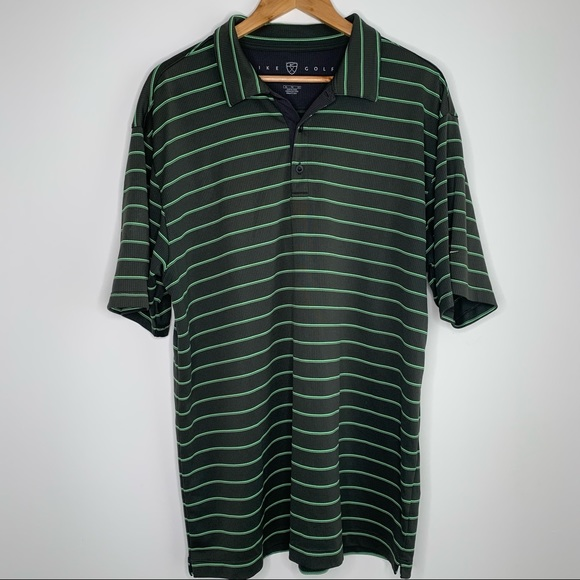 Nike Golf Men's Dark Grey and Green Striped Shirt